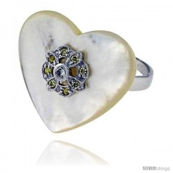 Heart-shaped Mother of Pearl Ring in Solid Sterling Silver, Accented with Tiny High Quality CZ's, 7/8 (22 mm) wide