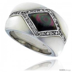 "Black & White Mother of Pearl Band in Solid Sterling Silver, Accented with Tiny High Quality CZ's, 1/2"" (13 mm) wide"