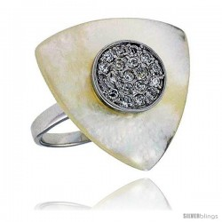 Triangular Mother of Pearl Ring in Solid Sterling Silver, Accented with Tiny High Quality CZ's, 15/16 (24 mm) wide