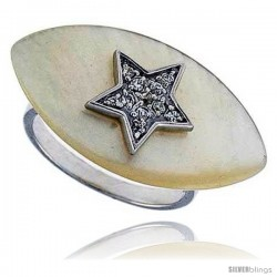 Marquise-shaped Mother of Pearl Ring in Solid Sterling Silver, Accented with Tiny High Quality CZ's, 9/16 ( -Style Rzs21