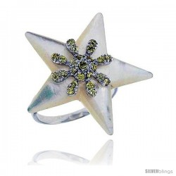 Star Mother of Pearl Ring in Solid Sterling Silver, Accented with Tiny High Quality CZ's, 1 1/8 (29 mm) wide
