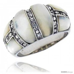 "Mother of Pearl Dome Band in Solid Sterling Silver, Accented with Tiny High Quality CZ's, 1/2"" (12 mm) wide"