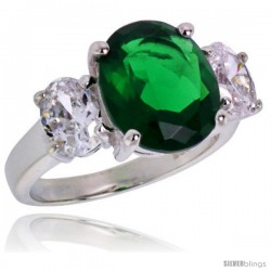Sterling Silver 5.0 Carat Size Oval Cut Emerald Colored CZ Bridal Ring -Style Rcz399