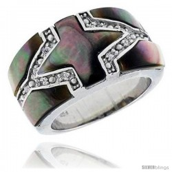 "Black Mother of Pearl Cross Band in Solid Sterling Silver, Accented with Tiny High Quality CZ's, 7/16"" (12 mm) wide"