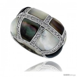 "Black & White Mother of Pearl Dome Band in Solid Sterling Silver, Accented with Tiny High Quality CZ's, 5/8"" (16 mm) wide"