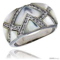 "Mother of Pearl Dome Band in Solid Sterling Silver, Accented with Tiny High Quality CZ's, 1/2"" (12 mm) wide -Style Rzs8"