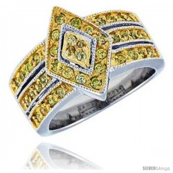 "Sterling Silver & Rhodium Plated Diamond-shaped Band, w/ Tiny High Quality Citrine CZ's, 9/16"" (15 mm) wide"