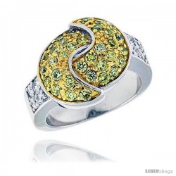 Sterling Silver & Rhodium Plated Double Crescent Moon Ring, w/ Tiny High Quality White & Citrine CZ's, 9/16 (14 mm) wide