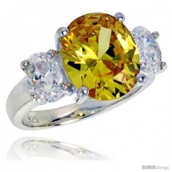 Sterling Silver 5.0 Carat Size Oval Cut Citrine Colored CZ Bridal Ring