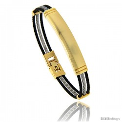 Stainless Steel Identification Cable Bracelet Black and Gold, 7 in
