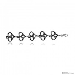 "Sterling Silver Handcuffs Charm Bracelet, 5/8"" (16 mm)."