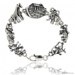 "Sterling Silver Noah's Ark Bracelet, 3/4"" (19 mm) wide"