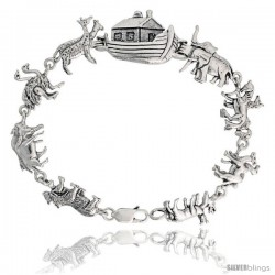 "Sterling Silver Noah's Ark Bracelet, 11/16"" (17 mm) wide"