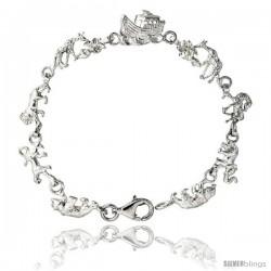 """Sterling Silver Noah's Ark Bracelet, 1/12"""" (12 mm) wide -Style 4cb32"""