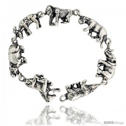 "Sterling Silver Menagerie Bracelet, 1/12"" (12 mm) wide"