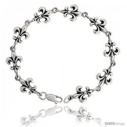 """Sterling Silver Fleur De Lis Bracelet, 7/16"""" (11 mm) wide"""