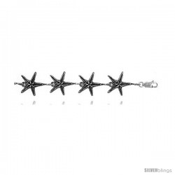 "Sterling Silver Starfish Charm Bracelet, 5/8"" (15 mm)."