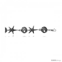 "Sterling Silver Star Fish & Sand Dollar Charm Bracelet, 5/8"" (15 mm)."