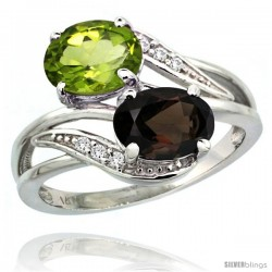 14k White Gold ( 8x6 mm ) Double Stone Engagement Smoky Topaz & Peridot Ring w/ 0.07 Carat Brilliant Cut Diamonds & 2.34 Carats