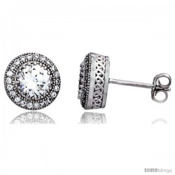 Sterling Silver Cubic Zirconia Micro Pave Halo Stud Earrings 1 ct Center 3/8 in