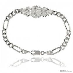 Sterling Silver Santa Muerte Figaro Link Bracelet 1/2 in wide, 7 in long