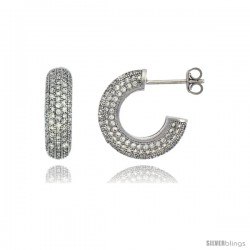Sterling Silver Cubic Zirconia Micro Pave Post Hoop Earrings 5/8 in