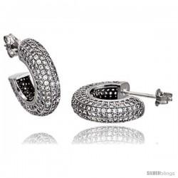Sterling Silver Cubic Zirconia Micro Pave Post Hoop Earrings 1/2 in