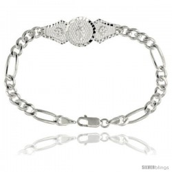 Sterling Silver St. Jude Figaro Link Bracelet 1/2 in wide, 7 in long