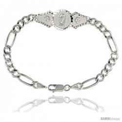 Sterling Silver Guadalupe Figaro Link Bracelet 1/2 in wide, 7 in long