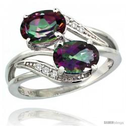 14k White Gold ( 8x6 mm ) Double Stone Engagement Mystic Topaz Ring w/ 0.07 Carat Brilliant Cut Diamonds & 2.34 Carats Oval Cut