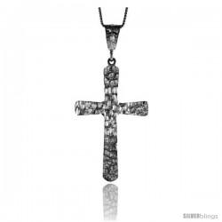 Sterling Silver Nugget Cross Pendant, 2 1/4 in