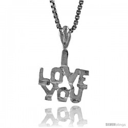 Sterling Silver Small I Love You Talking Pendant, 1/2 in Tall