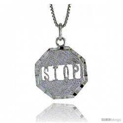 Sterling Silver Stop Sign Pendant, 7/8 in Tall