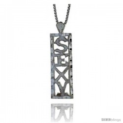 Sterling Silver SEXY Talking Pendant, 7/8 in Tall