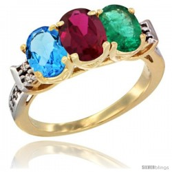 10K Yellow Gold Natural Swiss Blue Topaz, Ruby & Emerald Ring 3-Stone Oval 7x5 mm Diamond Accent