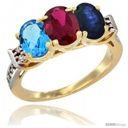 10K Yellow Gold Natural Swiss Blue Topaz, Ruby & Blue Sapphire Ring 3-Stone Oval 7x5 mm Diamond Accent