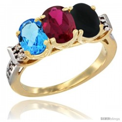 10K Yellow Gold Natural Swiss Blue Topaz, Ruby & Black Onyx Ring 3-Stone Oval 7x5 mm Diamond Accent