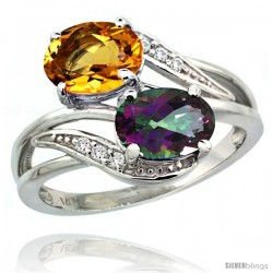 14k White Gold ( 8x6 mm ) Double Stone Engagement Mystic Topaz & Citrine Ring w/ 0.07 Carat Brilliant Cut Diamonds & 2.34