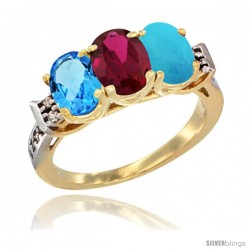 10K Yellow Gold Natural Swiss Blue Topaz, Ruby & Turquoise Ring 3-Stone Oval 7x5 mm Diamond Accent