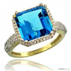 10k Yellow Gold Diamond Halo Swiss Blue Topaz Ring Checkerboard Cushion 11 mm 5.85 ct 1/2 in wide