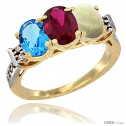 10K Yellow Gold Natural Swiss Blue Topaz, Ruby & Opal Ring 3-Stone Oval 7x5 mm Diamond Accent