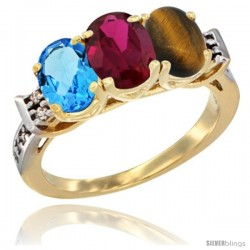 10K Yellow Gold Natural Swiss Blue Topaz, Ruby & Tiger Eye Ring 3-Stone Oval 7x5 mm Diamond Accent