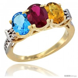 10K Yellow Gold Natural Swiss Blue Topaz, Ruby & Whisky Quartz Ring 3-Stone Oval 7x5 mm Diamond Accent