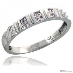 10k White Gold Ladies Diamond Wedding Band Ring 0.03 cttw Brilliant Cut, 1/8 in wide -Style 10w017lb