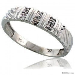 10k White Gold Mens Diamond Wedding Band Ring 0.05 cttw Brilliant Cut, 3/16 in wide