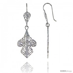 "Sterling Silver 1 11/16"" (43 mm) tall Filigree Dangle Earrings"