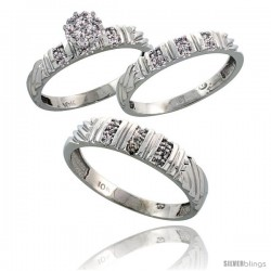 10k White Gold Diamond Trio Engagement Wedding Ring 3-piece Set for Him & Her 5 mm & 3.5 mm wide 0.14 cttw Brilliant Cut