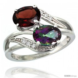 14k White Gold ( 8x6 mm ) Double Stone Engagement Mystic Topaz & Garnet Ring w/ 0.07 Carat Brilliant Cut Diamonds & 2.34 Carats