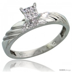 10k White Gold Diamond Engagement Ring 0.06 cttw Brilliant Cut, 1/8in. 3.5mm wide -Style 10w018er