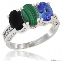 10K White Gold Natural Black Onyx, Malachite & Tanzanite Ring 3-Stone Oval 7x5 mm Diamond Accent